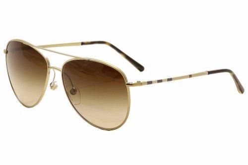 c10ced0b8d3 Burberry B3072 B 3072 1189 13 Gold Havana Aviator Sunglasses 57mm ...