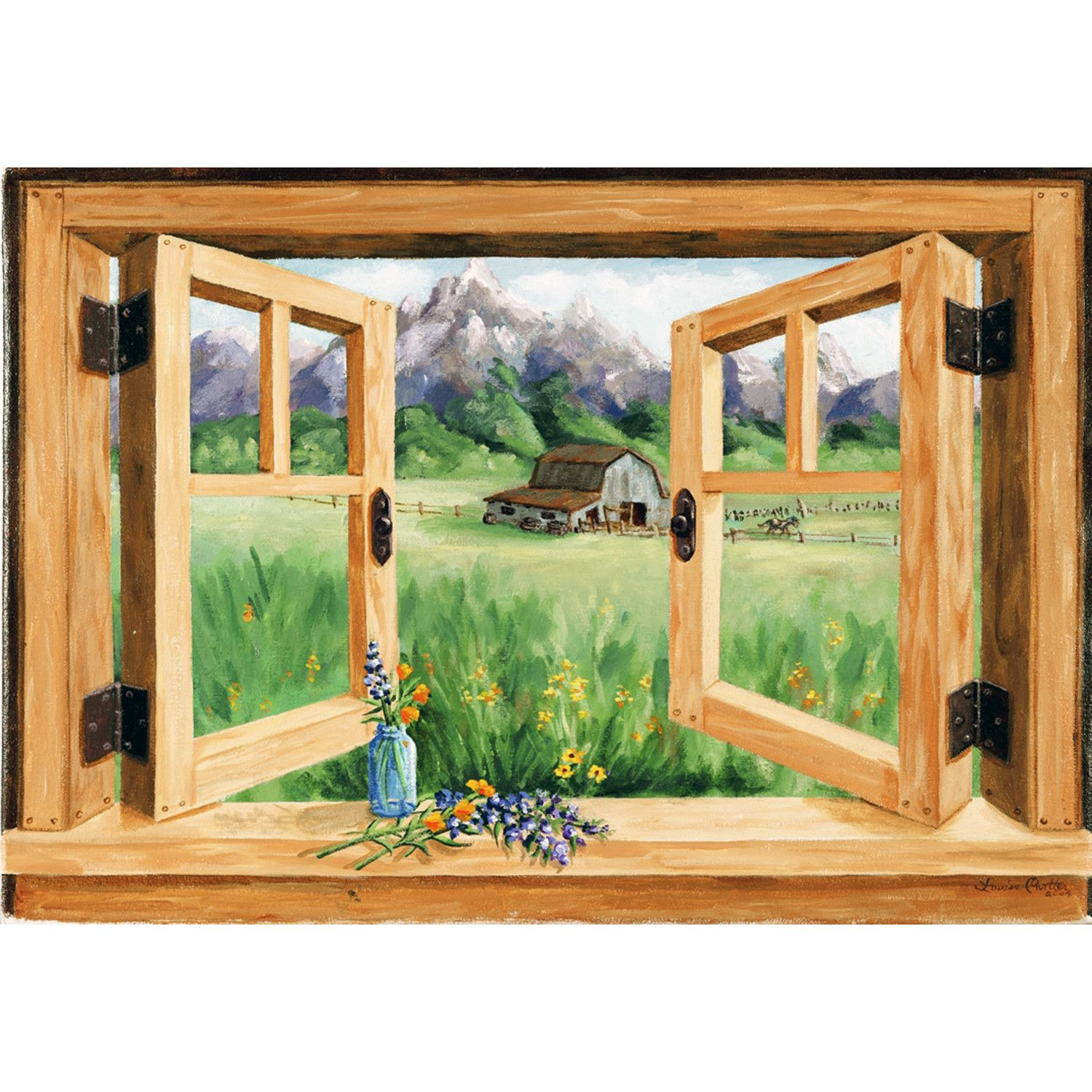 Fake Window Muntins Stupell Industries Barn Mountain Faux Window Scene By Louise