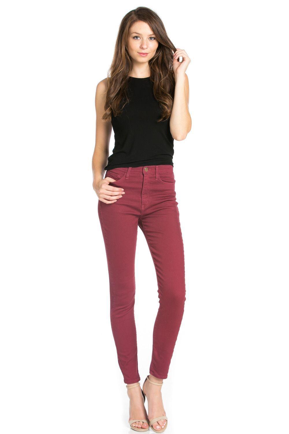 O2 Denim Solid High Waisted Vintage Jeans - Burgundy