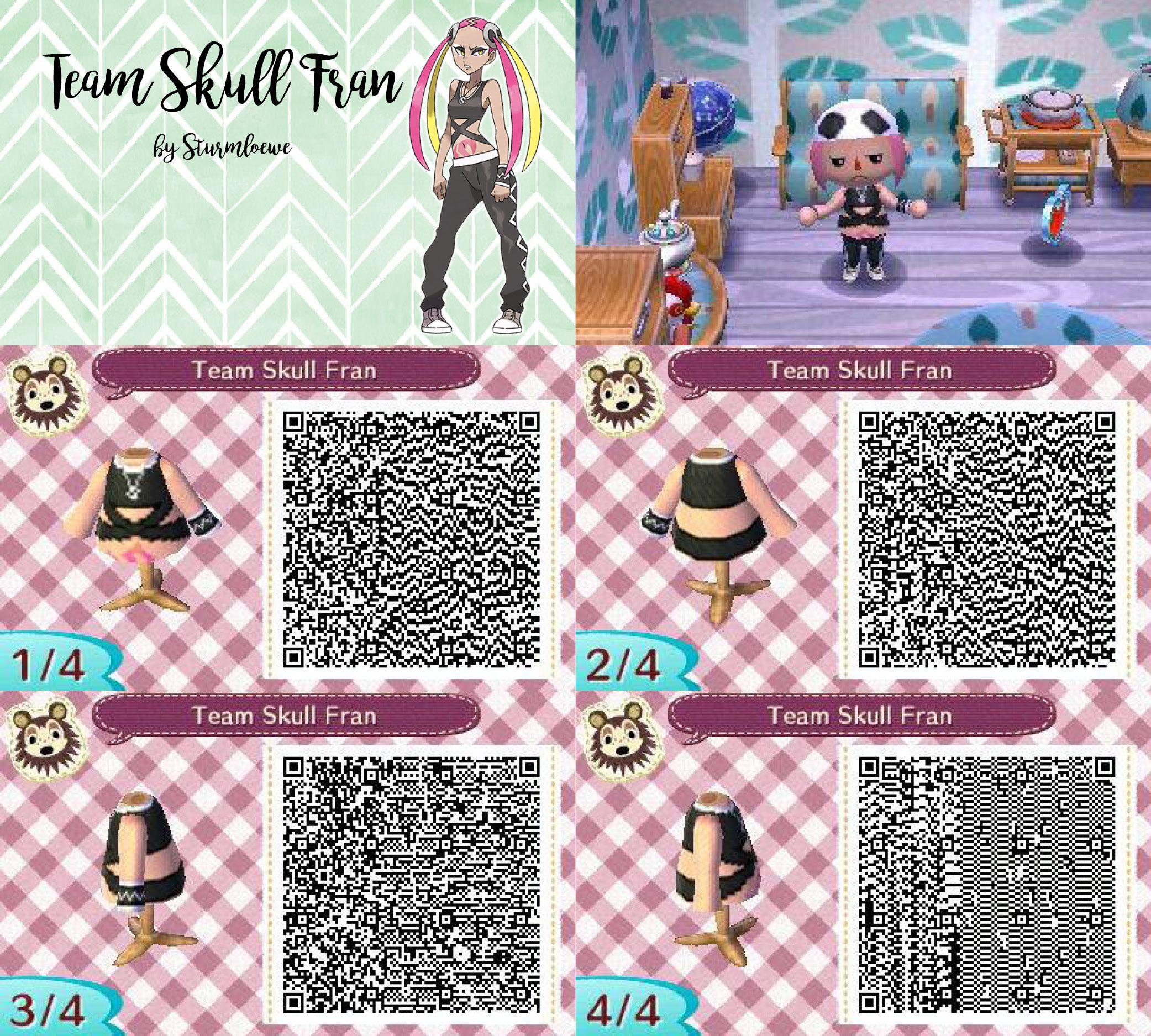 Animal Crossing New Leaf Qr Code Pokemon Sun Moon Team Skull Girl