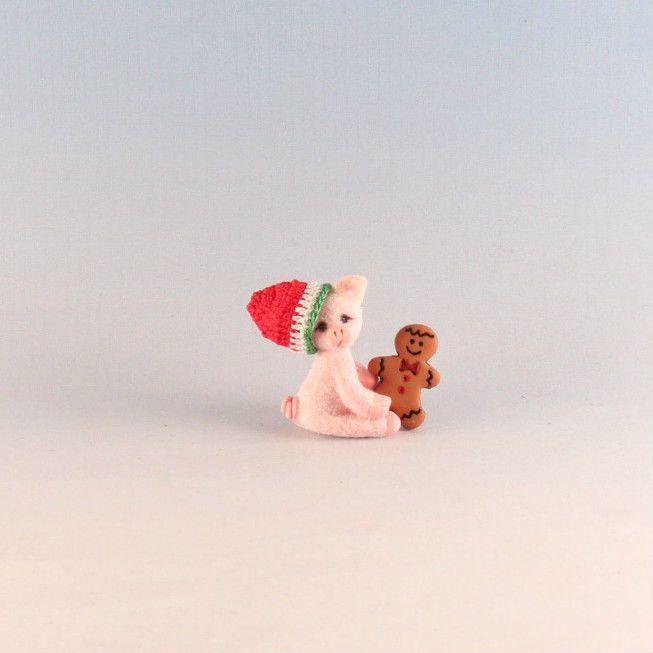 OOAK~Little Pig~Gingerbread Man~Xmas Hat~Dollhouse Baby Toy~Dolly~Artist Doll  #CherylBrown