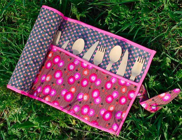 Pour emporter et stocker les couverts lors d un pique for Set de table tissu