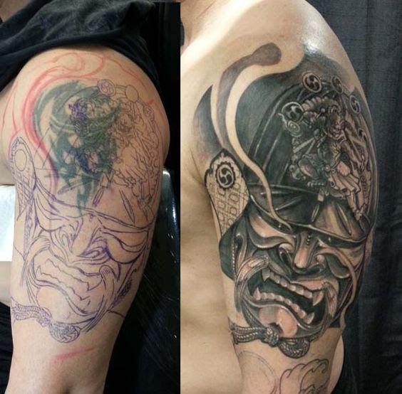 17. Tribal tattoos cover up with an amazing warrior tattoo ...