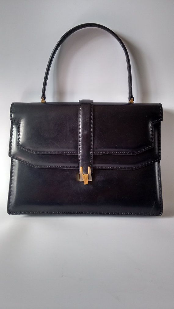 LANCEL Vintage Black Leather Handbag with Hand by Sophiashop123 ...