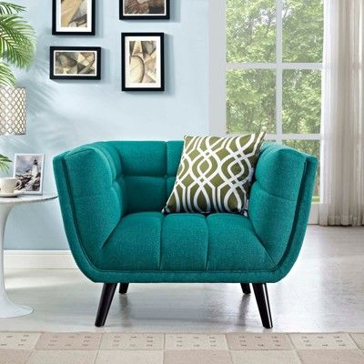 teal blue furniture. Bestow Upholstered Fabric Armchair Teal (Blue) - Modway Teal Blue Furniture