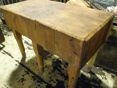 Vintage 1900 S Antique Solid Maple Butcher Block Meat Cutting Table 48x32x70