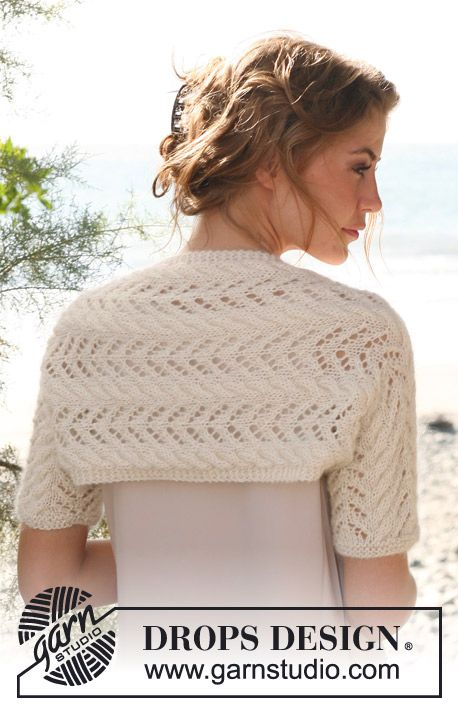 Knitted DROPS shrug with cables and lace pattern in Alpaca and Kid ...