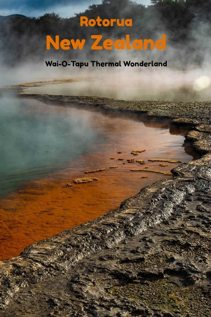 Vivid colours add to the mystic nature of Waiotapu Thermal Wonderland in Rotorua New Zealand. #travel #NewZealand #Rotorua #BayofPlenty #geothermal #geysers #antimony