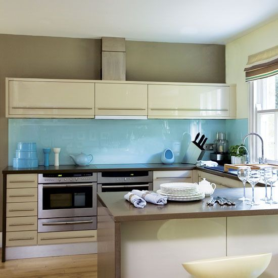 Kelsey Grammars Blue Kitchen Cream Cabinets
