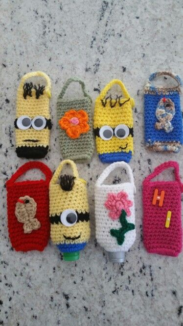 Crochet Hand Sanitizer Covers Minion Crochet Crochet Bag