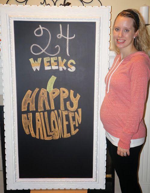 Pregnancy Chalkboard 24 Weeks Halloween Template Calendar Art