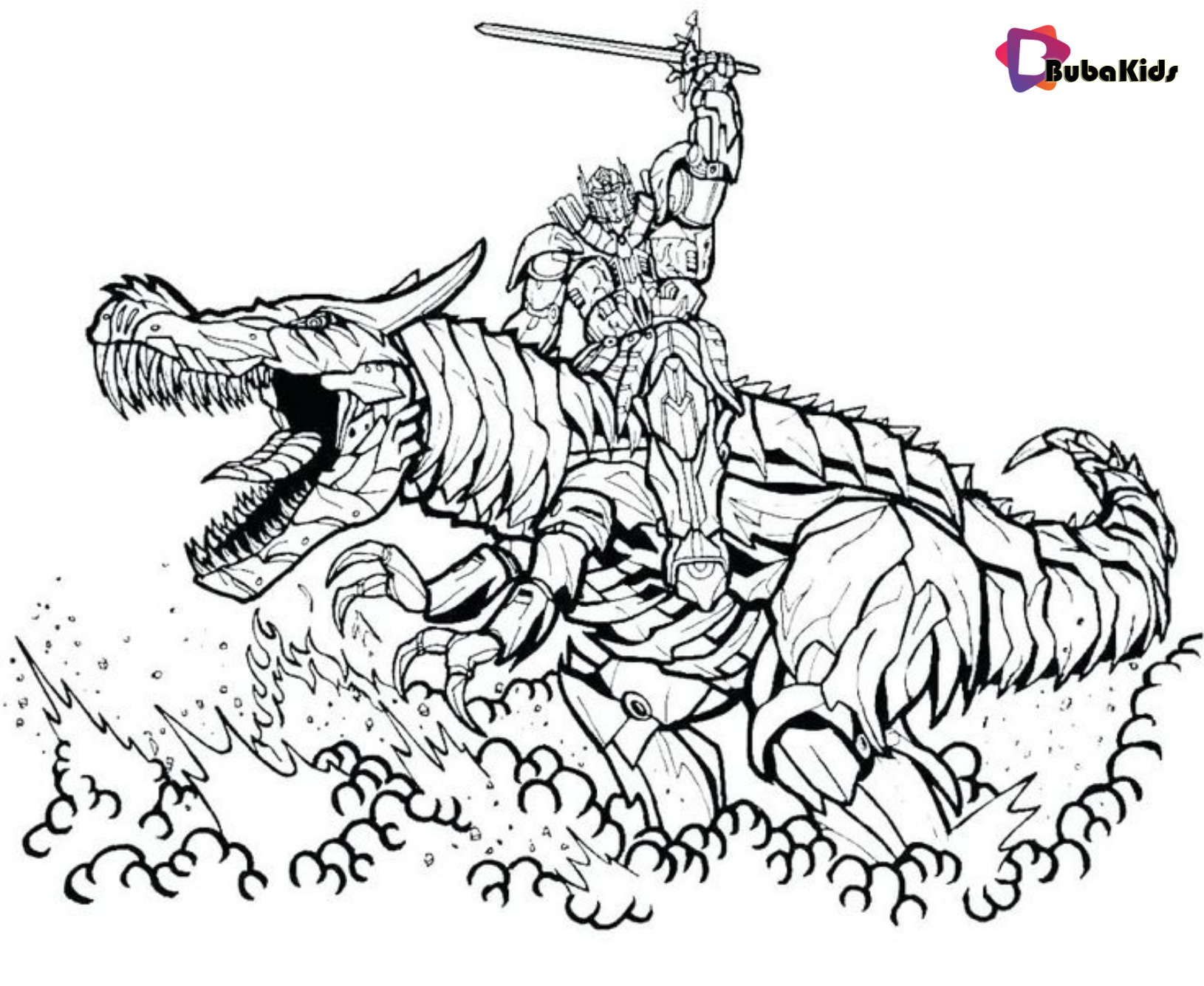 Transformers Coloring Pages Bumblebee Riding Dragon Coloring Pages Bubakids Com Bumb Transformers Coloring Pages Dinosaur Coloring Pages Dragon Coloring Page