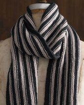 Garter Stripe Scarf, 8 ply, pattern, superfine, merino, Cleckheaton