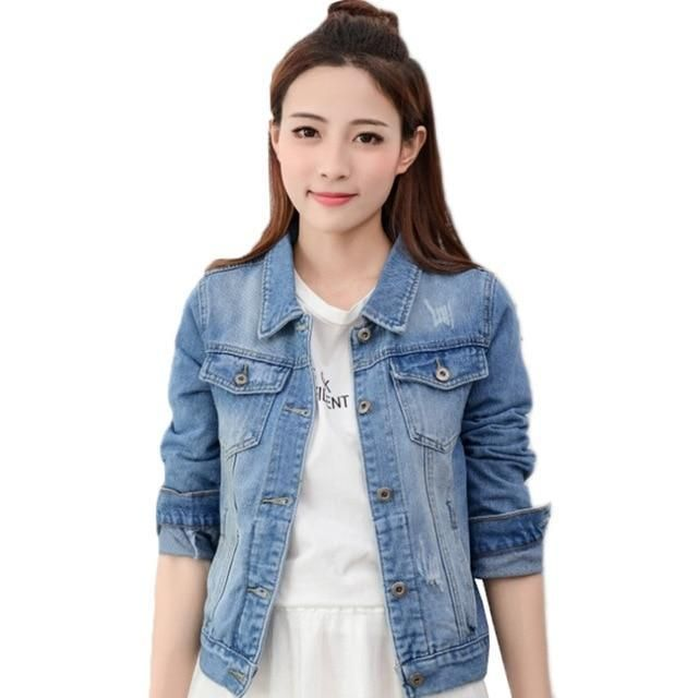 2019New Denim Jacket Light Blue Bomber Short Jeans Jacket Casual Ripped Denim Outwear 2XL Slim Long Sleeve Black Jeans Jack Coat #jeanjacketoutfits