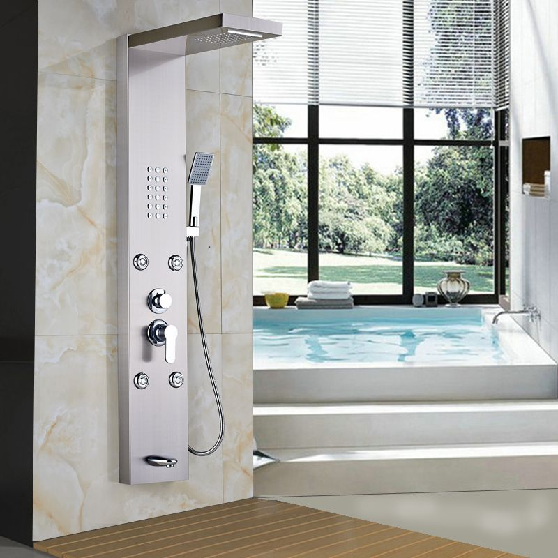 $189.15 | Brushed Nickel Single Handle Rain Waterfall Shower Panel with Body Message Jets / Tub Spout / Handheld Shower Column