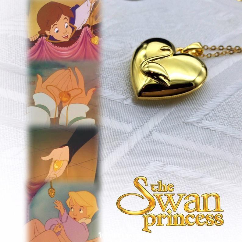 Sterling Silver 925 20K Gold Plating Swan Princess Odette Heart Locket Necklace Swan Pendant