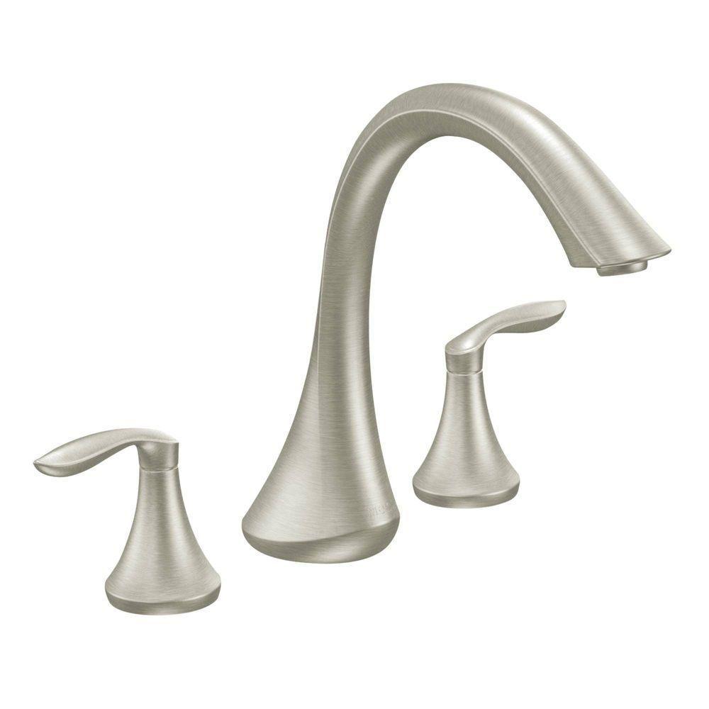 Moen Eva 2 Handle Deck Mount Roman Tub Faucet Trim Kit In Brushed Nickel Valve Not Included Roman Tub Faucets Tub Faucet Roman Tub