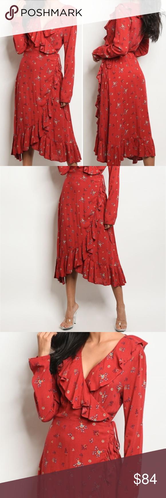 Red floral print wrap dress boutique my posh picks pinterest