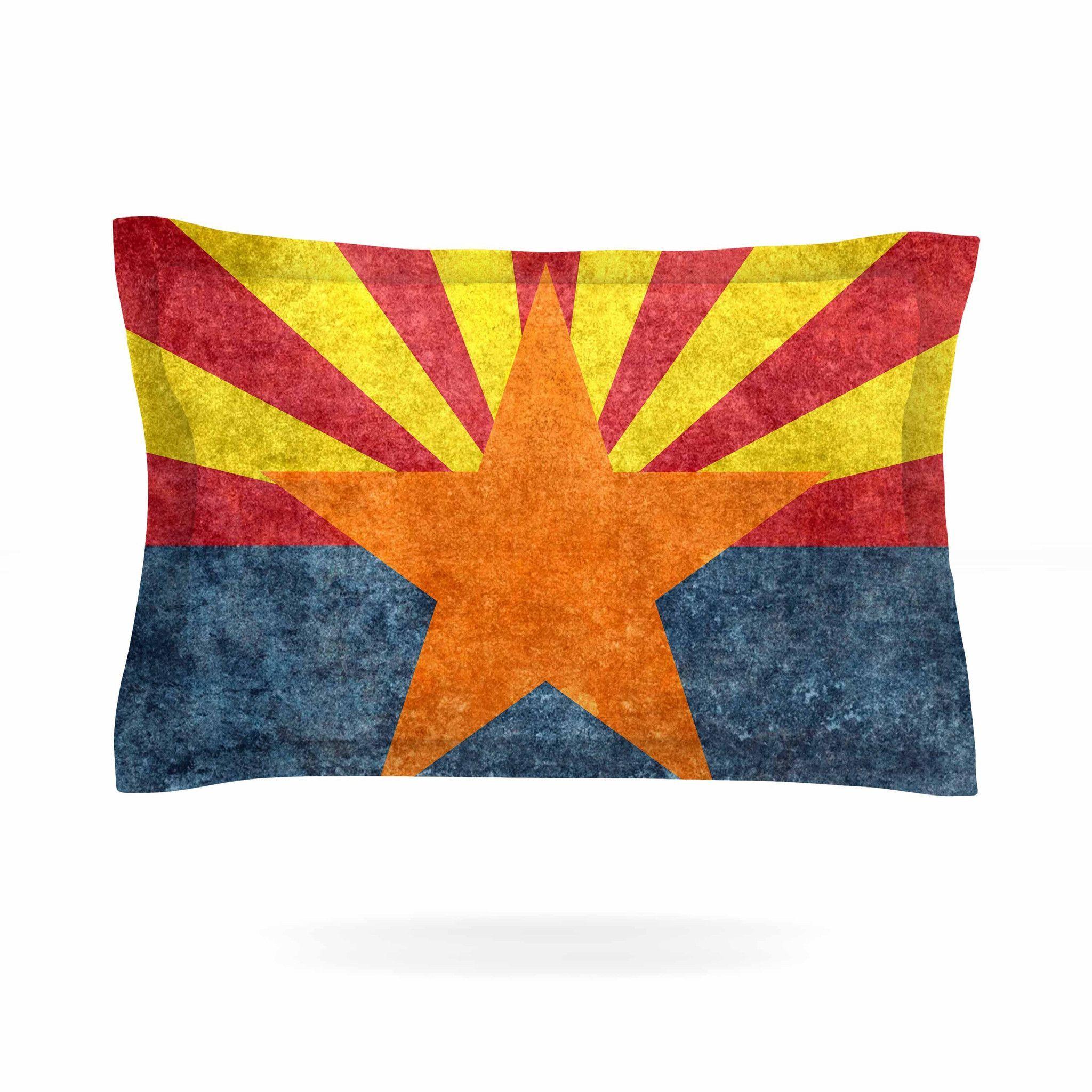 "Bruce Stanfield ""Arizona State Flag Retro Style"" Orange Blue Pillow Sham"