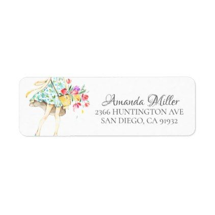 Springtime Fashion Girl Return address Label trendy gifts