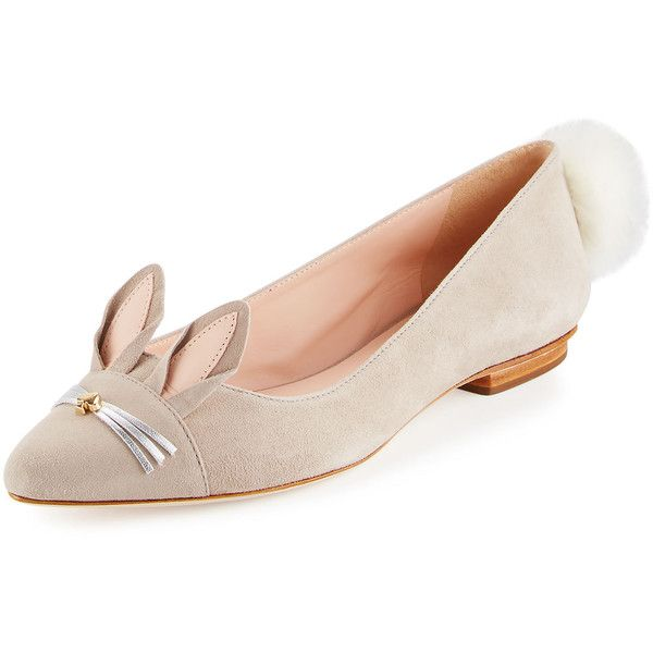 Cly Suede d'Orsay Bow Pearl Flats UMb03o