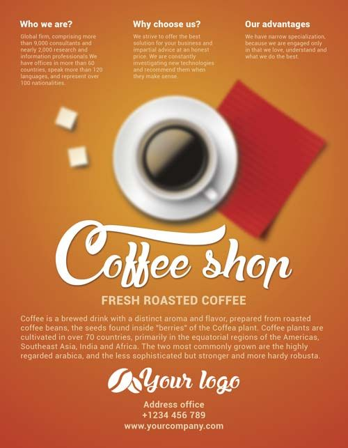Free Coffee Shop Flyer Psd Template Dengan Gambar