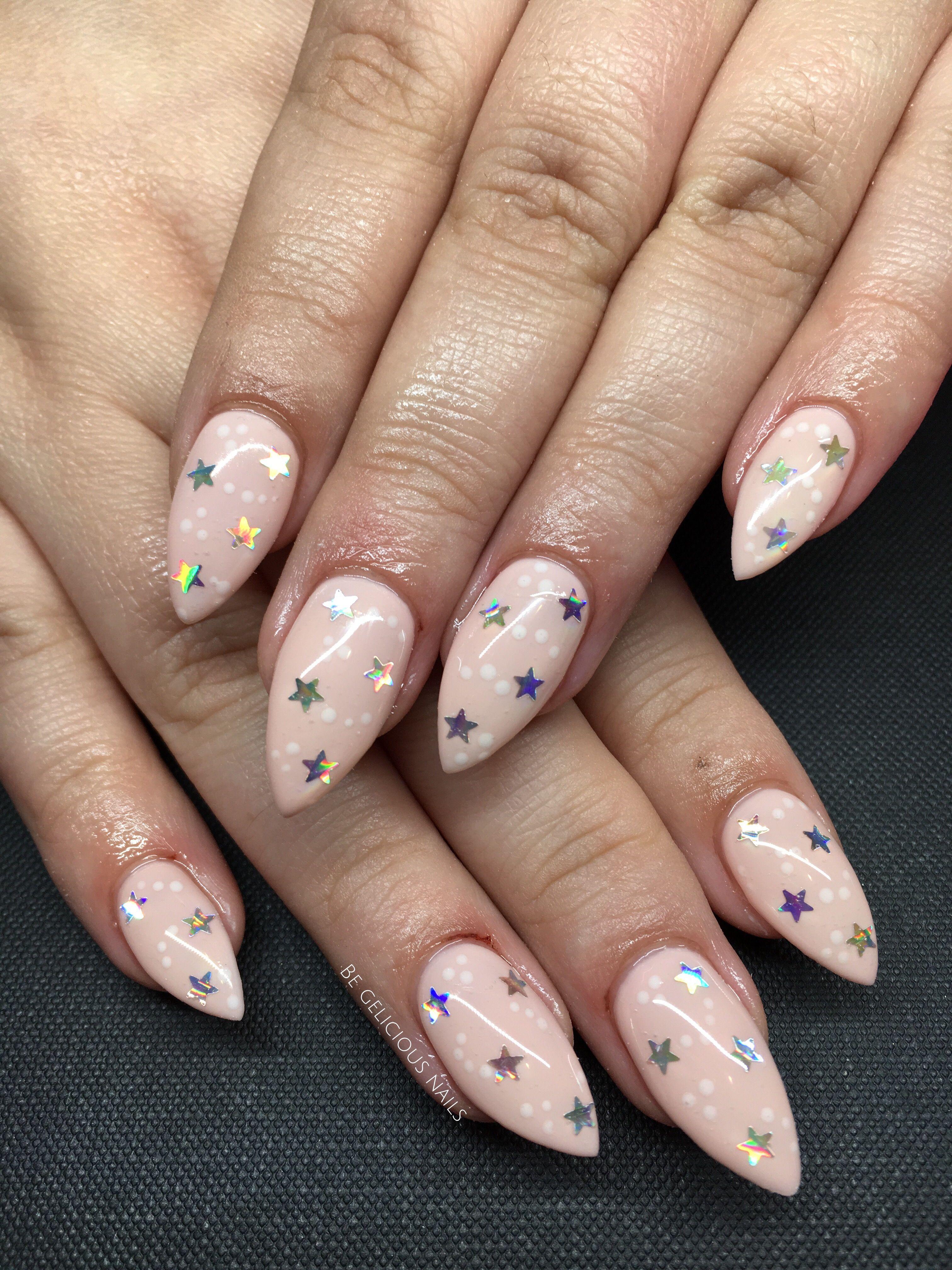Jamie Genevieve inspired extensions #calgel #nails #gel #stars #nude ...