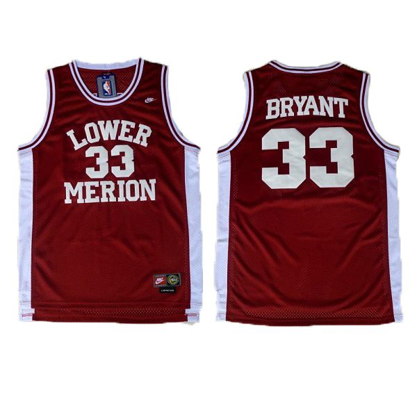 Kobe Bryant High School Jersey is the Lower Merion High School  33 Jersey.  The color of the jersey is marron. And the name and numbers are stitched. fc7c73299