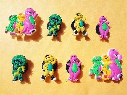 Set Of 8 Barney The Dinosaur Shoe Charms Shoe Snap On Decorations Charms Buttons Widgets For Clogs Crocs Dinosaur Shoes Shoe Charms Barney The Dinosaurs