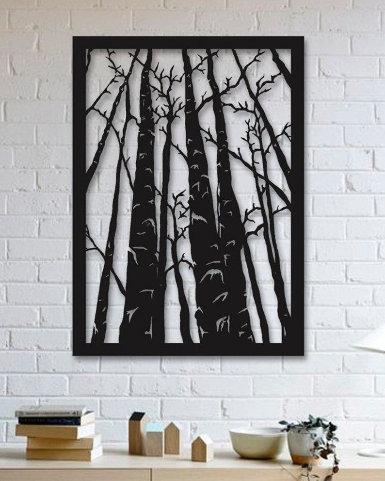 Forest Trees Design Metal Wall Art Forest Metal Poster Etsy In 2020 Metal Wall Hangings Metal Tree Wall Art Forest Wall Art