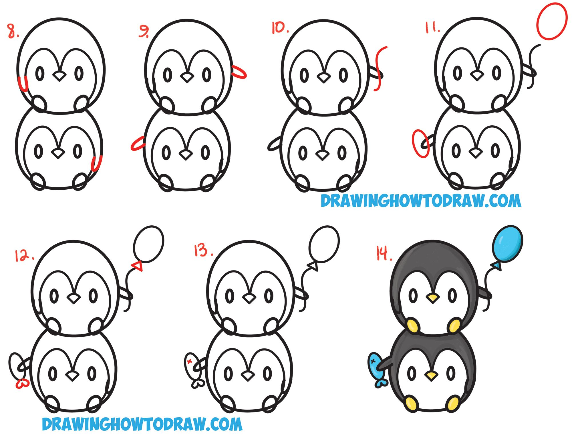 How to Draw Cute Kawaii Penguins Stacked from #8 with Easy ...