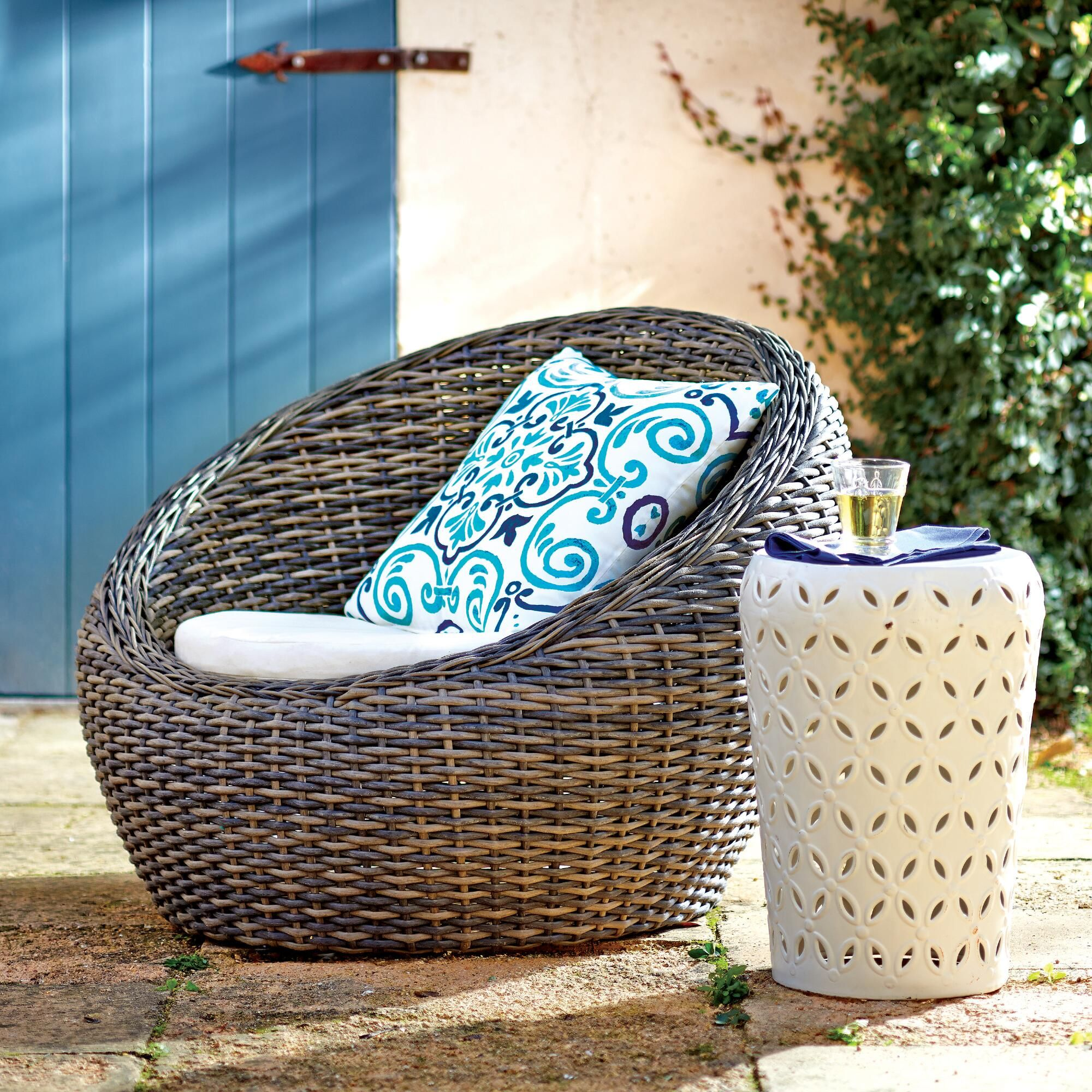 Egg Wicker Chair All Weather Wicker Formentera Egg Outdoor Chair World Market