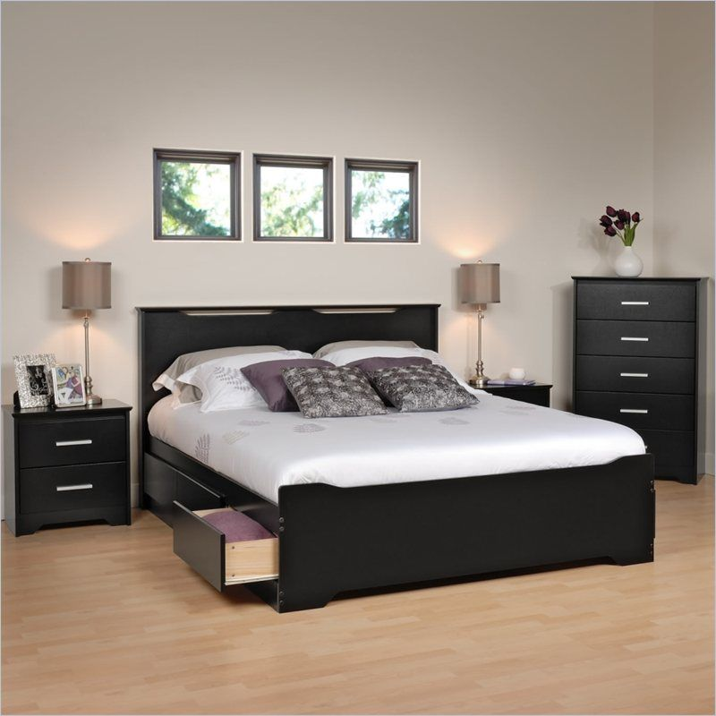 Prepac Coal Harbor 4 Piece Queen Bedroom Set in Black | Items you ...