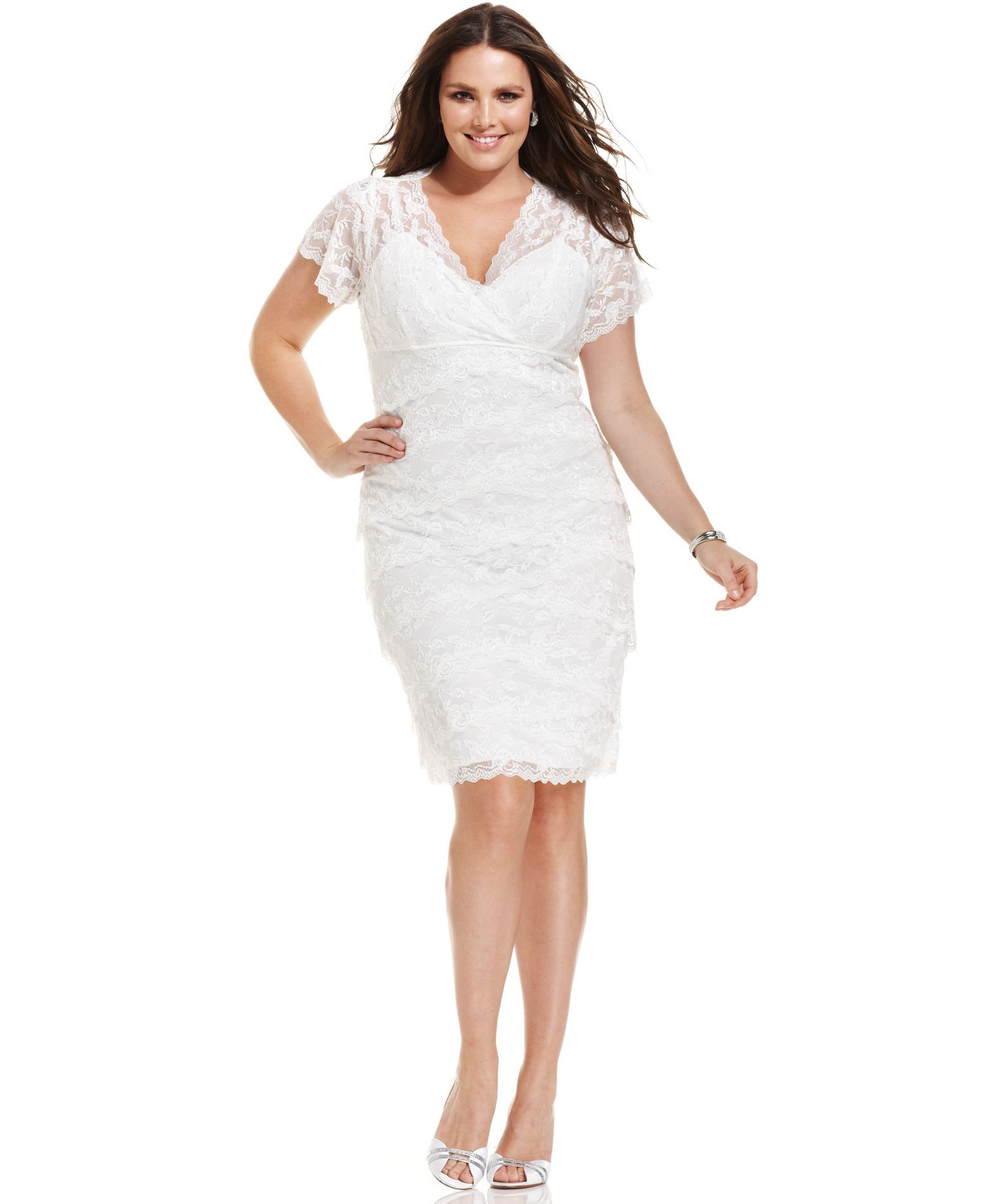 Marina Plus Size Dress, Cap-Sleeve Beaded Lace | Products ...