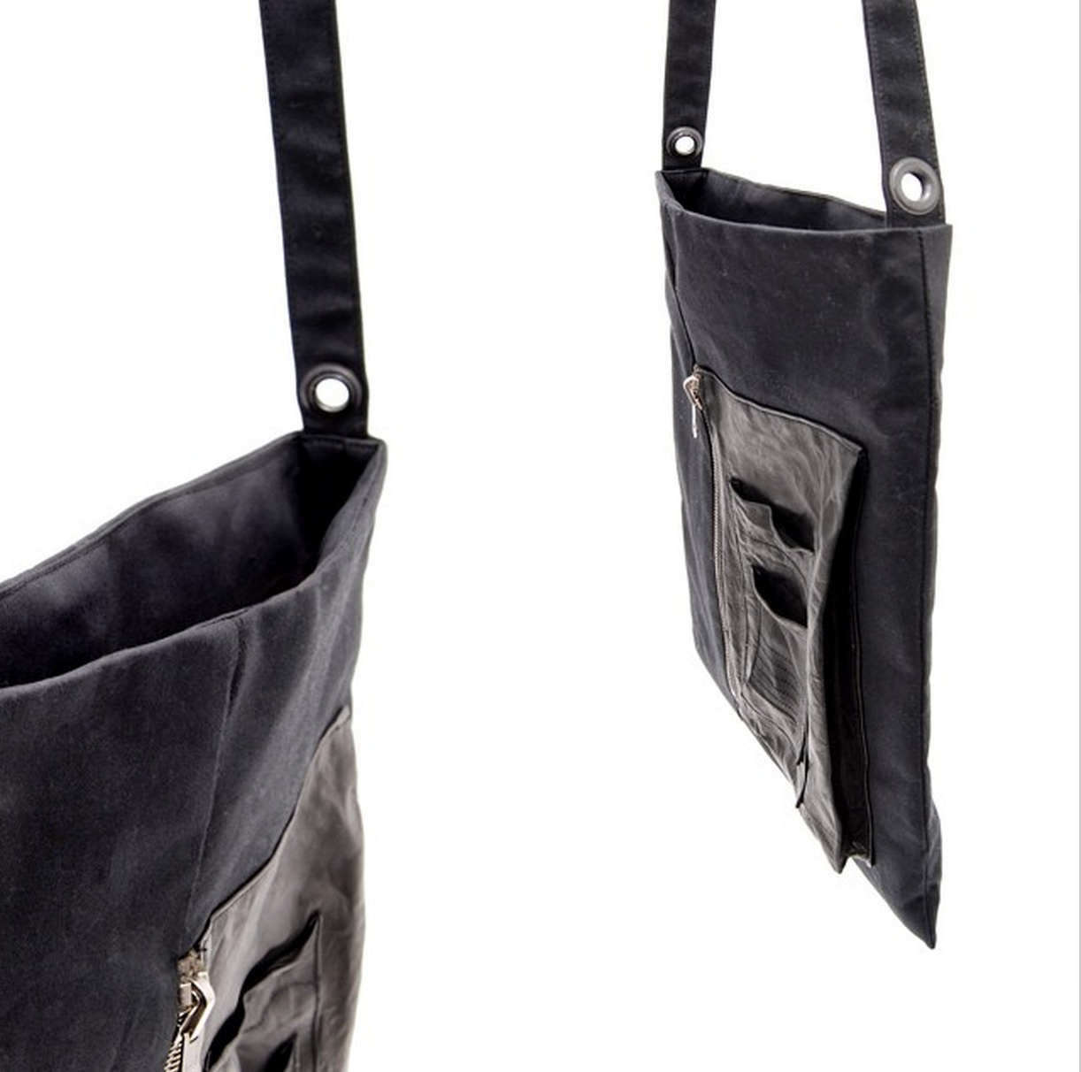 N.I.C.E. Collective's Bomber Tote in black cotton and lambskin leather. Made in San Francisco.