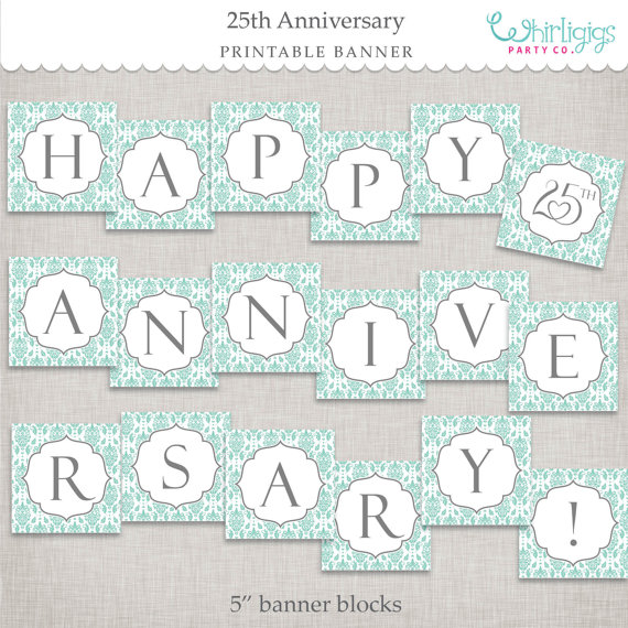 photo relating to Happy Anniversary Banner Free Printable called Quick Down load 25th Anniversary Banner - printable PDF