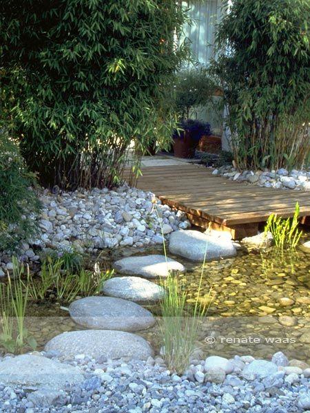 Trittsteine durch den Gartenteich zum Holzdeck - ein schöner Weg am - wasserfall garten wand