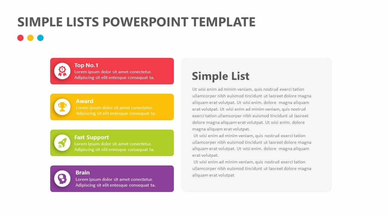 Simple Lists Powerpoint Template Make It Simpler For Your Company To