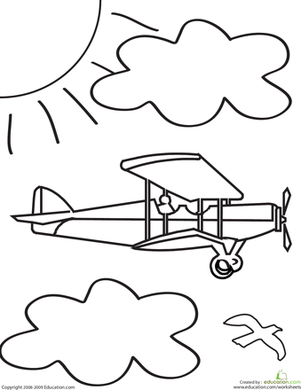 color the airplane airplanes worksheets and child. Black Bedroom Furniture Sets. Home Design Ideas