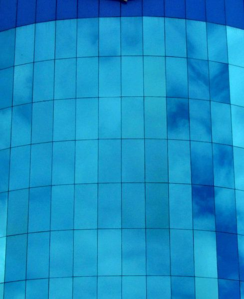 Colored Glass Window Panes Blue Glass Reflections2 External