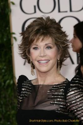Jane Fonda - Short Tousel Look: Subtle layering, texture and volume can diminish appearance of wrinkles and fine lines. Adding width to upper part of face with soft curls and strategic