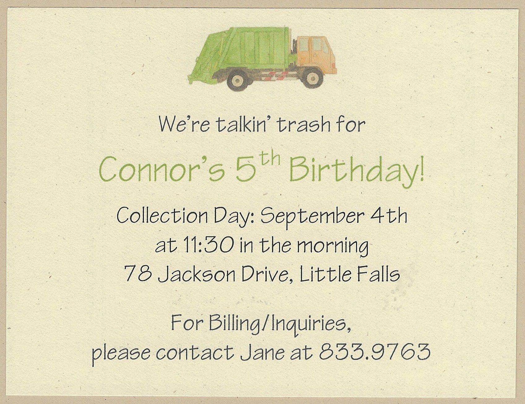Garbage Truck Birthday Invitations