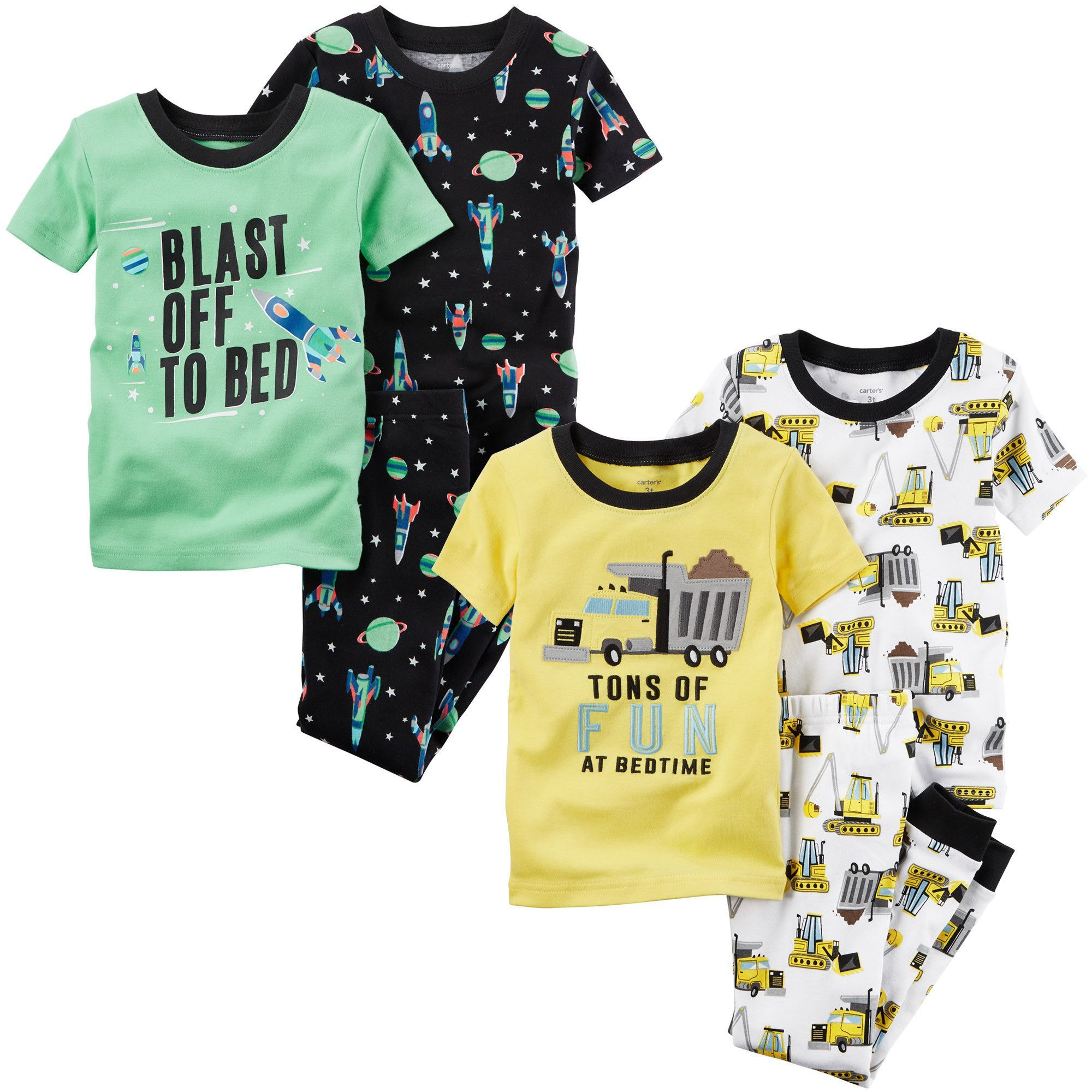 Carter's 3-piece Pajama Set 2-pack Construction and Space