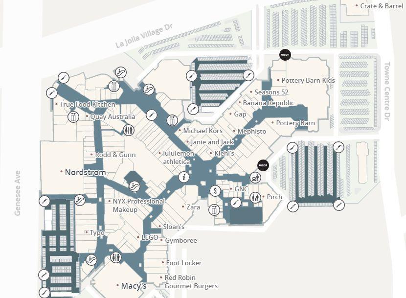 Westfield Utc Shopping Plan La Jolla Village Westfield Gps Coordinates