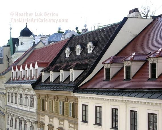 Vienna Photography Facades Austrian Architecture Wall Decor Art Print Roof Architecture Architecture Facade