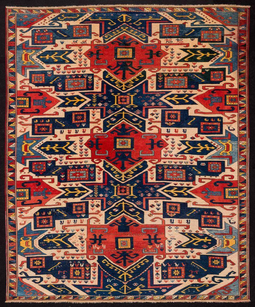 TAPPETO CAUCASICO BAKU STAR KAZAK ANNODATO A MANO cm. 262 x 215