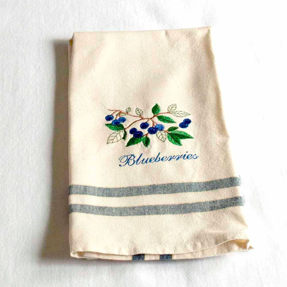 Kitchen Towel with Blueberries Branch Embroidery by charlenesbags ...