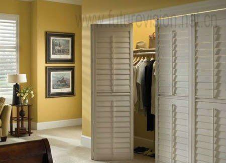 Commercial furniture louvre door wardrobe cabinet set el for Bedroom wardrobe shutter designs