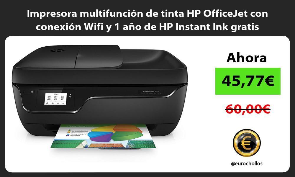Preciazo Amazon Impresora Multifunción De Tinta Hp Officejet Con Conexión Wifi Y 1 Año De Hp Instant Ink Gratis 45 77 Wifi Impresora Tinta Hp