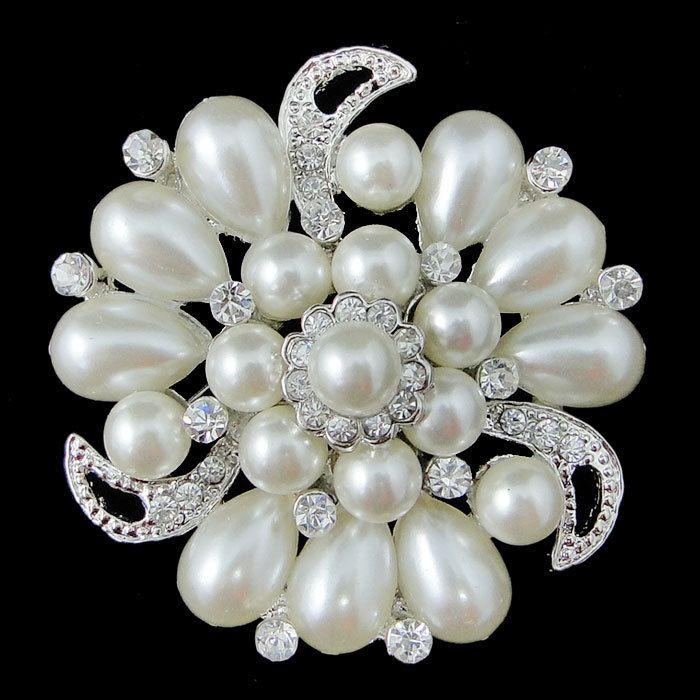 vintage style swarovski crystal bridal brooch pin flower